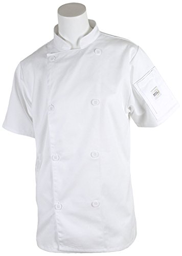 Mercer Culinary M61032WHS Genesis Women's Short Sleeve Chef Jacket with Traditional Buttons, Small, White (Ladies Chefs Jacket Traditional)