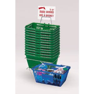12 Hunter Green Plastic Shopping Baskets by Retail Resource