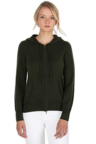JENNIE LIU Women's 100% Pure Cashmere Long Sleeve Zip Hoodie Cardigan Sweater