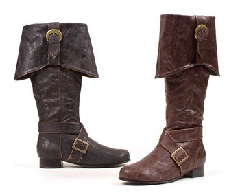 Ellie Shoes Men's 1'' Heel Knee High Pirate with Buckle décor Boots Sizes L BRWP