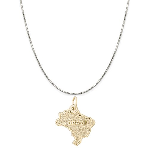 """Rembrandt Charms Two-Tone Sterling Silver Brazil Map Charm on a Sterling Silver Box Chain Necklace, 16"""""""