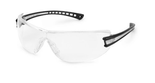 Glass Luminary - Gateway Safety 19GB79 Luminary Wraparound Eye Safety Glasses with Temple Technology, Clear Anti-Fog Lens, Black Temple, Clear Inset by Gateway Safety, Inc