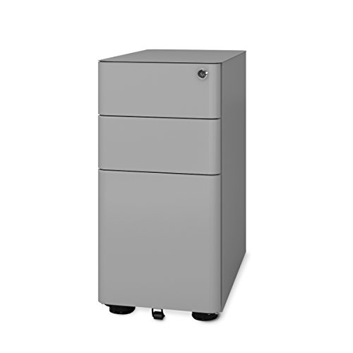 Gray Mobile File Cabinet (DEVAISE 3-Drawer Slim Mobile File Cabinet with Lock,Legal/Letter Size (Gray))
