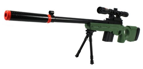 velocity airsoft l96-gs spring airsoft gun fps-250 w/ folding bi-pod, mock silencer, aiming scope (od green)(Airsoft Gun) (Spring Mp5)