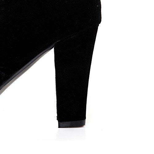 Balamasa Dames Hoge Hakken Kniehoge Stof Geïmiteerd Suede Laarzen Zwart
