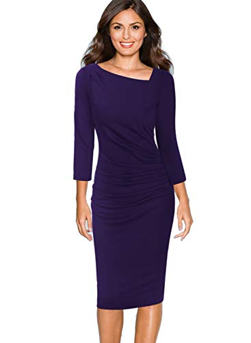 VFSHOW Womens Asymmetrical Neck Ruched Draped Work Business Sheath Dress 1076 PUP M
