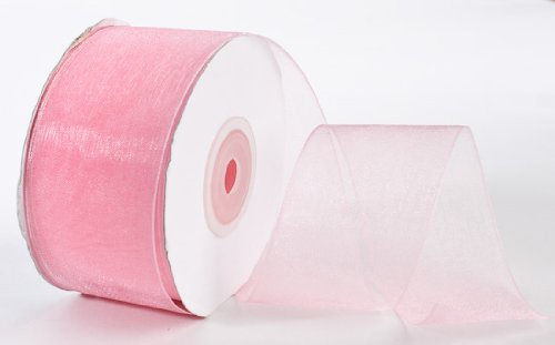25 Yard Spool of Elegant Light and Sheer Pink Organza Ribbon- 1.5