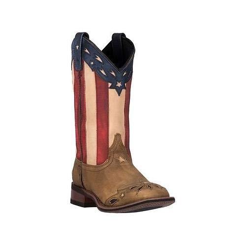 11' Americana Cowboy Boot - Laredo Women's Freedom Cowgirl Boot Square Toe Wheat 9 M US Tan
