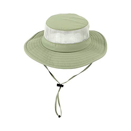 (Light Olive Foldable Fishing UV Sun Hat w/ Vented Mesh, Outdoor Cap, Light Olive, Large/X-Large)