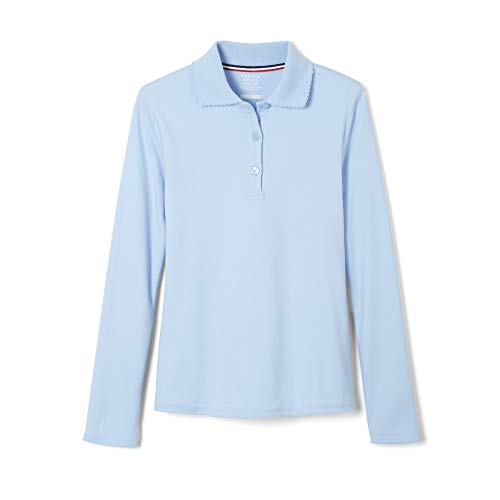 Uniform L/s Polo - French Toast Little Girls' L/S Fitted Knit Polo With Picot Collar - Blue, 6/6x