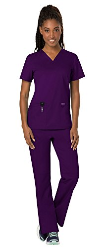 Cherokee Workwear Revolution Women's Medical Uniforms Scrubs Set Bundle - WW620 V-Neck Scrub Top & WW110 Elastic Waist Scrub Pants & MS Badge Reel (Eggplant - X-Small/Small)