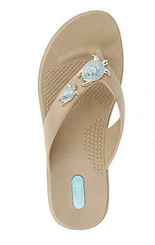 Oka-B Women's Theresa Flip Flop Sandal (Medium-Large / 8.5-9.5 B(M) US, Chai) (All The Best Telugu)