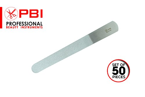 Nail file - Double sided nail file - Manicure Pedicure nail file - Stainless steel nail file - 6 inch - 50 pieces set - from PBI by PBI professional beauty instruments
