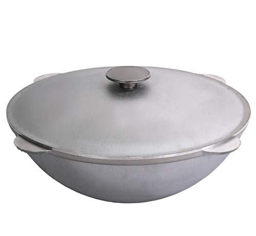 Free2buy Cast Aluminum Camping Cookware Cooking Fire Pot Kazan with Lid for Traditional Uzbek Plov (12.7 qt (12 L)