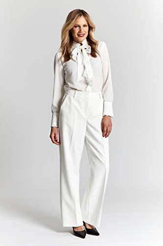 Roto Para Promiss Blanco Mujer Liso Pantalón Recto 6qqxYAf