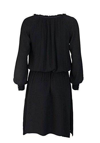 Taille schwarz Mosh Rundhals Kleid Mos Geraffte Langarm pnHwFpqP
