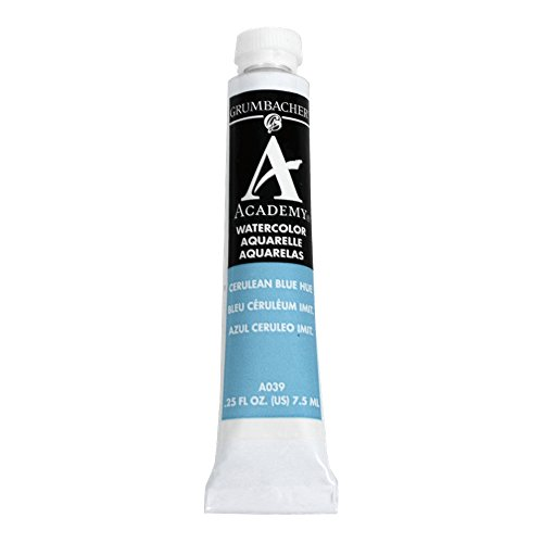Grumbacher Academy Watercolor Paint, 7.5ml/0.25 Ounce, Cerulean Blue Hue (A039)