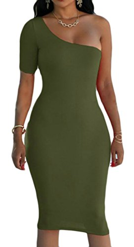 Army Dress Club Sheath One Green Sexy Party Cruiize Shoulder Pencil Solid Womens qOxpzv