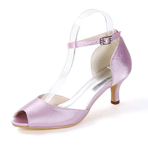 Pink Zapatos Banquete Para Corte tacones Peep Cm Bodas Satén Medias Sandalias Bombas Noche Layearn 6 De Toe Mujer Hebilla PBOvqU