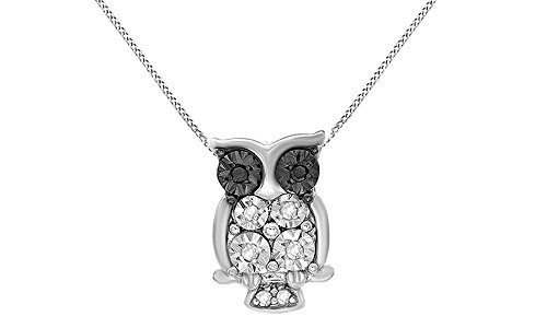Jewel Zone US Black White Natural Diamond Accent Owl Pendant Necklace 14k White Gold Over Sterling Silver
