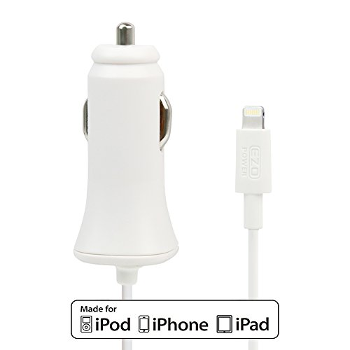 UPC 885157785143, Apple Certified MFI EZOPower USB 8-Pin Lightning 2.4A Car Charger - White
