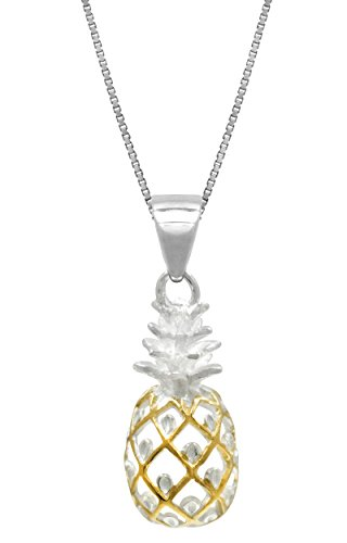 - Honolulu Jewelry Company Sterling Silver with 14k Gold Plated Trim Pineapple Necklace Pendant with 18