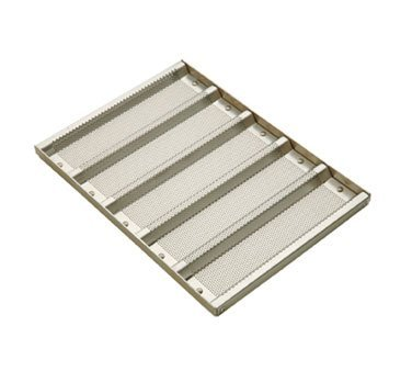 Focus Foodservice Perforated Glazed Aluminum 5 Mold Sub Sandwich Roll Pan, 12 1/2 x 3 inch -- 6 per case.