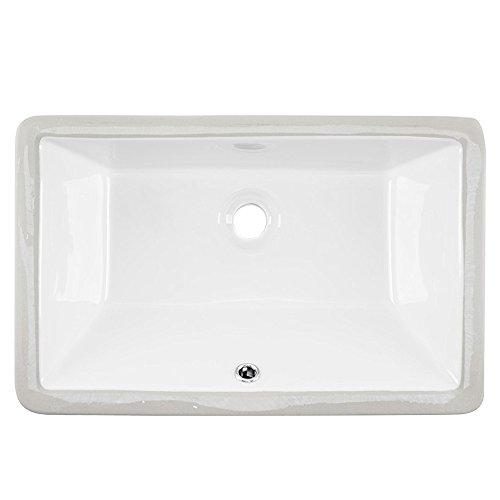 Friho 20.9''x13.6''x7.1'' Modern Rectangular Undermount Vanity Sink Porcelain Ceramic Lavatory Bathroom Sink,White With Overflow by Friho