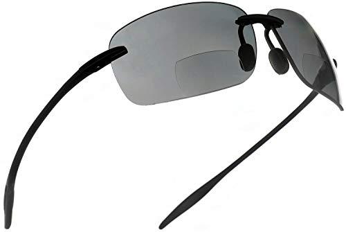 Maui Sports Navigator Bifocal Sun Readers Sunglasses for Men and Women Ultra Flex TR90 Black ()