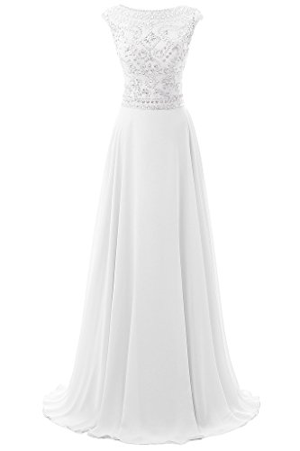 Dresstore Women's Long Chiffon Bridesmaid Dress Cap Sleeves Beaded Prom Eveing Gown - White - 2