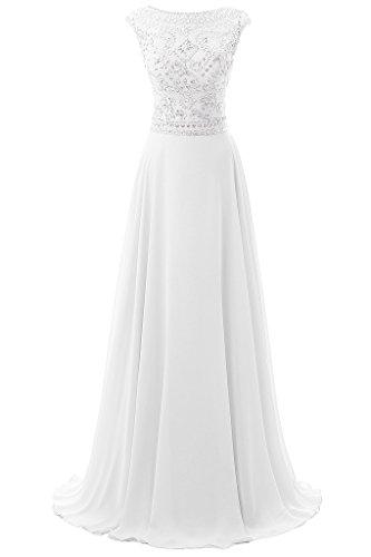 Dresstore Women's Long Chiffon Bridesmaid Dress Cap Sleeves Beaded Prom Eveing Gown - White - - Rhinestone Cap Bride