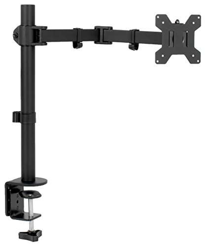 VIVO Full Motion Single VESA Monitor Desk Mount Stand with Double Center Arm Joint | for up to 32 inch Screen (STAND-V101D)