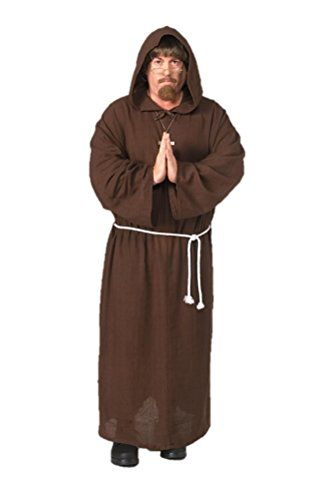 Adult Friar Tuck Deluxe Hooded Monk Robe Costume,Mens X-Large