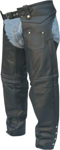 (Unisex Traditional Lined Motorcycle Chaps w/ Spandex Thighs, Premium Cowhide Leather)