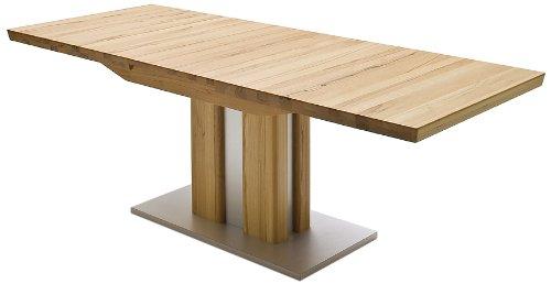 Ausziehbarer Säulentisch Bergamo - Tischplatte und Gestell Kernbuche massiv matt lackiert - Absetzung Gestell und Bodenplatte Edelstahloptik - Maße in B/H/T: ca. 180(230)x77x90 cm