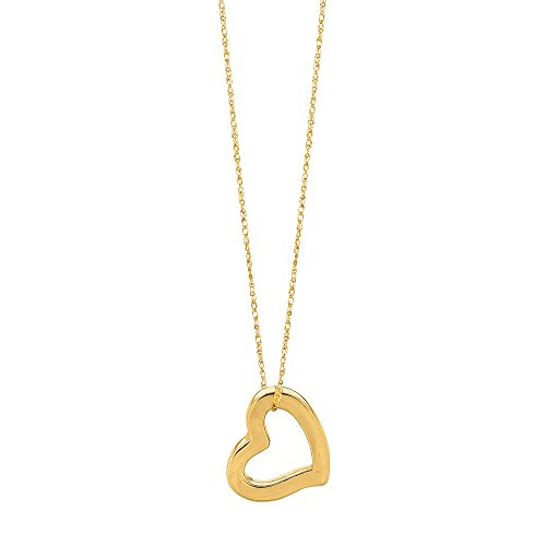 Jewelryweb Solid 14K Yellow Gold 18-Inch Squared Floating Heart Necklace (12mm) ()