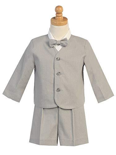 Linen Eton & Shorts Set (Light Gray, 3T)