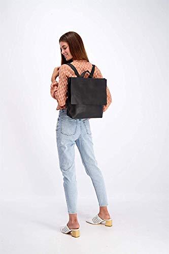 Black Leather Backpack, Laptop Handbag with Zipper, Women's Minimalist Modern Purse Shoulder Bag, Gift for Her, Diaper Bag, Handmade by Mayko