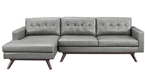 TOV Furniture The Blake Collection Antique Eco-Leather Upholstered Sectional Furniture Sofa Couch With Left Arm Chaise For Living Room, Chestnut