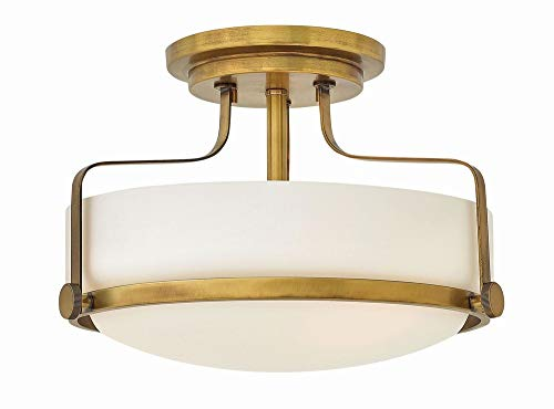 Hinkley 3641HB Transitional Three Light Semi Flush Mount from Harper collection in Brassfinish, from Hinkley
