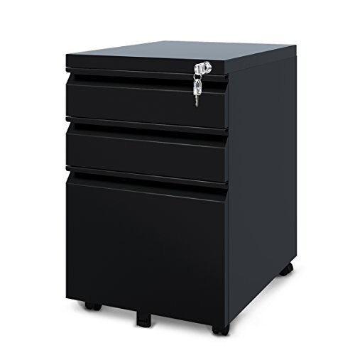 DEVAISE 3 Drawer Mobile File Cabinet, Locking Filing Cabinet on Wheels, Black ()