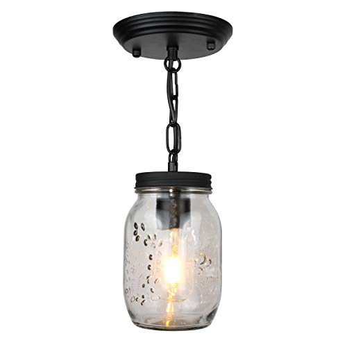 Flush Mount Ceiling Light Fixture,Farmhouse Mason Jar Glass Pendant 1-Light for Modern Kitchen Island Bedroom Living-Room