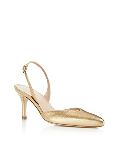 Stuart Weitzman Womens Sleek Closed Toe Casual Slingback Sandals, Gold, Size 7.5