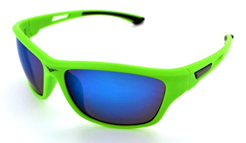 VertX Lightweight Durable Mens & Womens Athletic Sport Sunglasses Cycling Running w/FREE Microfiber Pouch - Green Frame - Blue - And Green Blue Sunglasses