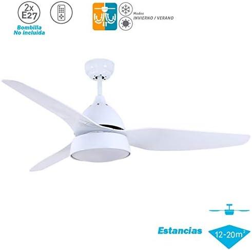Ventilador blanco con luz modelo Autan 132 cm.: Amazon.es: Hogar