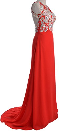 MACloth Women O Neck Gold Lace Chiffon Long Prom Dress Formal Party ...