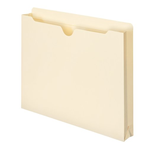 Smead File Jacket, Reinforced Straight-Cut Tab, 1-1/2' Expansion, Letter Size, Manila, 50 per Box (75540)