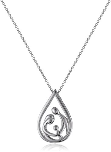Sterling Silver Family Drop Pendant Necklace, -