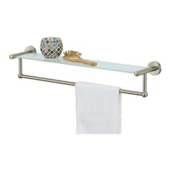 Bathroom Shelf Brushed Nickel, Metal Temperate Glass Shelf