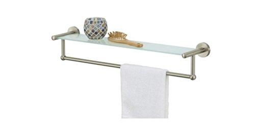 Tag Re Bathroom Shelf Brushed Nickel Metal Temperate Glass Shelf With Towel Bar Storage